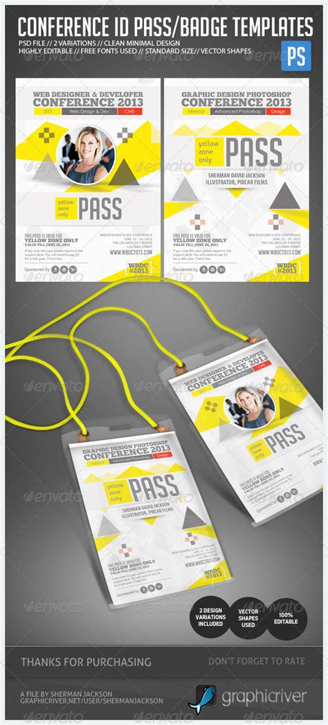 id card printing template conference expo corporate pass id badge graphicriver
