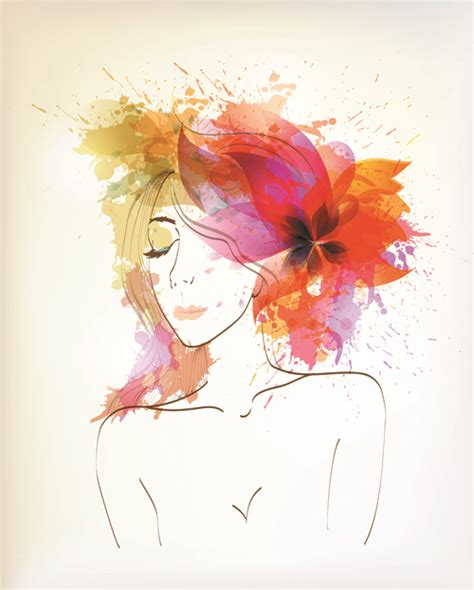 watercolor pattern psd watercolor floral woman creative design 01 free over