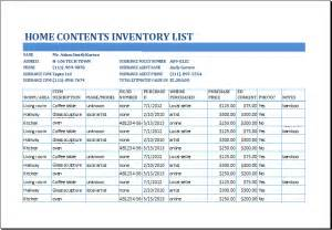 insurance inventory list template 4 inventory list templates excel excel xlts