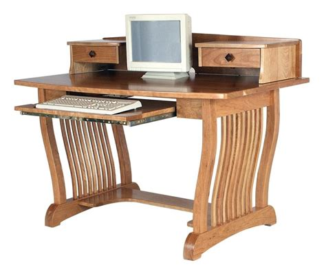 Amish Royal Mission Computer Desk Topper Home Office Real Wood Computer Desks