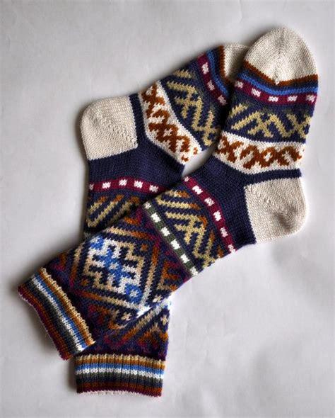 knitting pattern thick socks blue orange yellow white pink custom made scandinavian