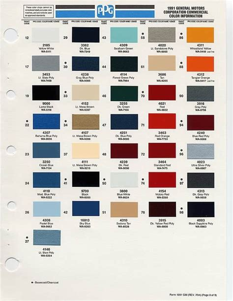 gm auto color chips color chip selection auto paint colors codes paint color