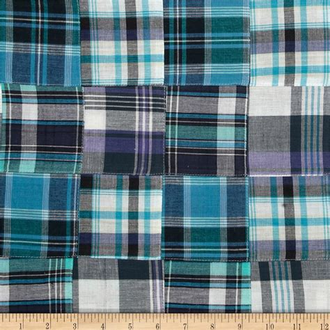 Plaid Patchwork Fabric - madras plaid patchwork navy aqua white discount designer