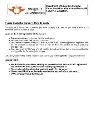 Funza Lushaka Bursary At Uj Fill Online Printable