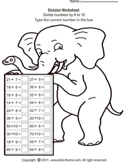 printable division games for grade 2 divide numbers by 6 to 10 math pinterest printable