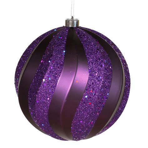 vickerman 23622 8 quot purple matte glitter swirl ball