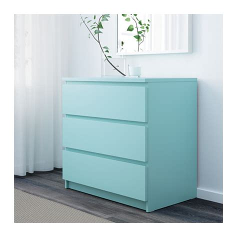 Ikea Turquoise malm chest of 3 drawers light turquoise 80x78 cm ikea