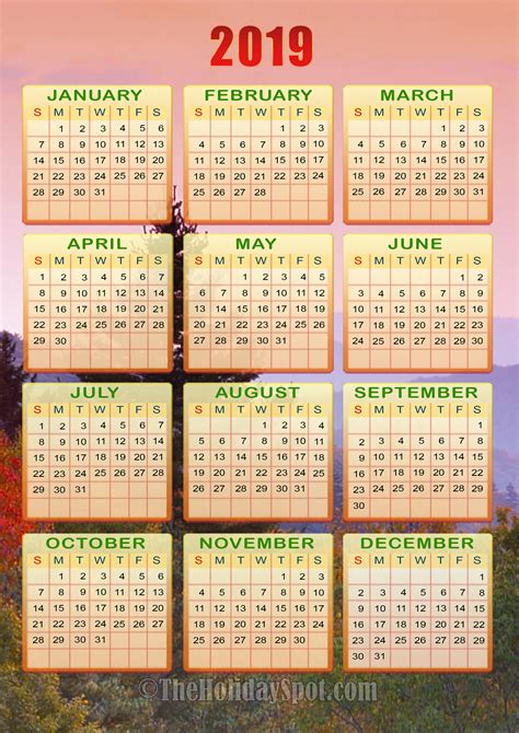 color calendar printable calendars for new year