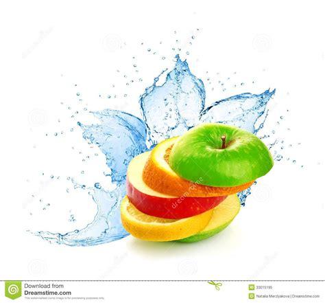 fruit mix in water splash royalty free stock photo image