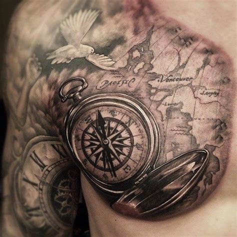 compass tattoo on shoulder compass with map tattoo on front shoulder and chest