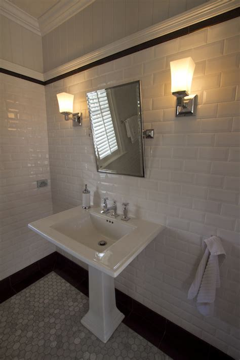 beveled subway tiles transitional bathroom
