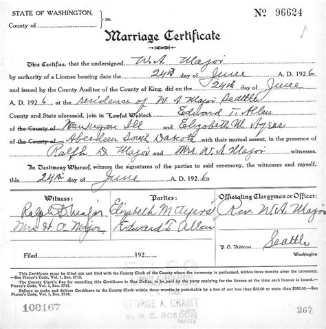 Washington State Marriage Records Sle Marriage Certificate Marriage Certificate Sle 7