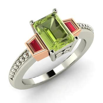 Peridot Pr 05 S bleruc engagement ring with emerald cut peridot ruby 1