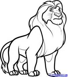 draw mufasa lion king step step disney characters cartoons draw cartoon