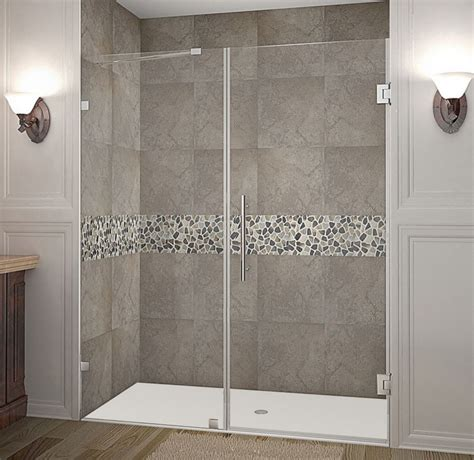 Shower Doors By Tj Aston Nautis 63 Inch X 72 Inch Completely Frameless Hinged Shower Door In Chrome The Home