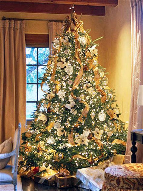 gold ribbons on christmas trees 2805 o tree inspiration