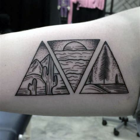 three triangle tattoo 90 triangle designs for manly ink ideas
