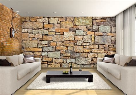 Rustic Modern Kitchen Ideas by Brick Effect Wall Garden Custom Wallpaper Mural Print By