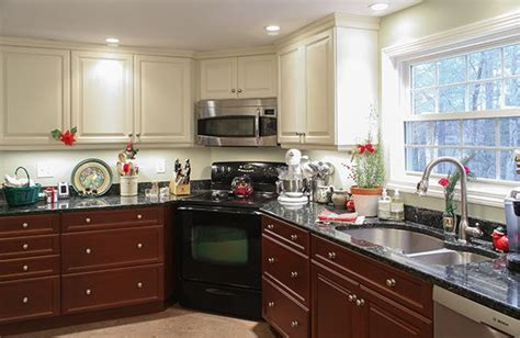 two tone kitchen cabinets with white appliances two toned kitchen stainless steel appliances corner
