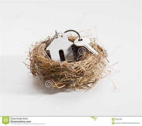 New Cozy Nest comfortable nest for new home ownership stock photos