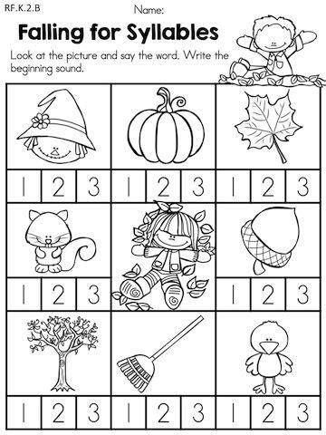 Free Syllable Worksheets For Kindergarten by Autumn Kindergarten No Prep Language Arts Worksheets