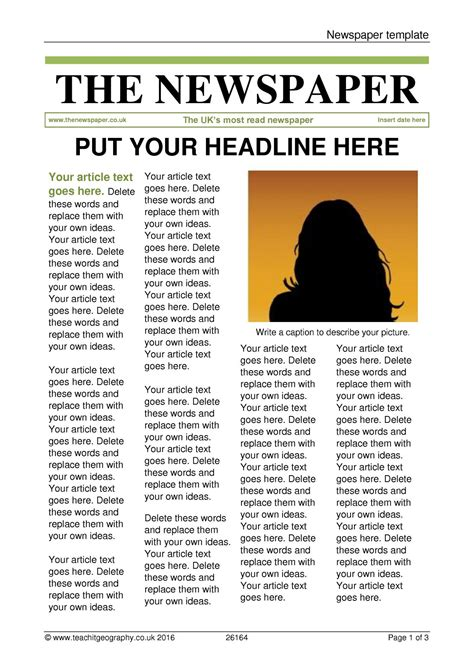 Newspaper Template Article Template Word
