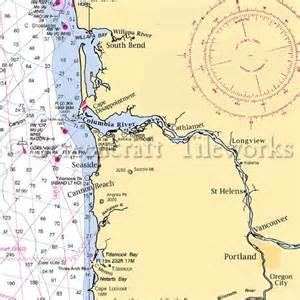 Bath Shower Combination oregon columbia river nautical chart decor