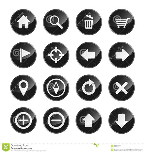 eps format size navigation icon set for website interface stock vector