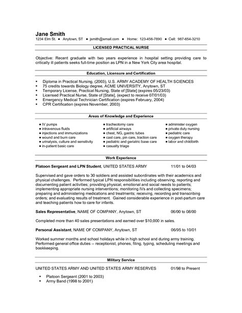 new resume template new grad lpn resume resume ideas