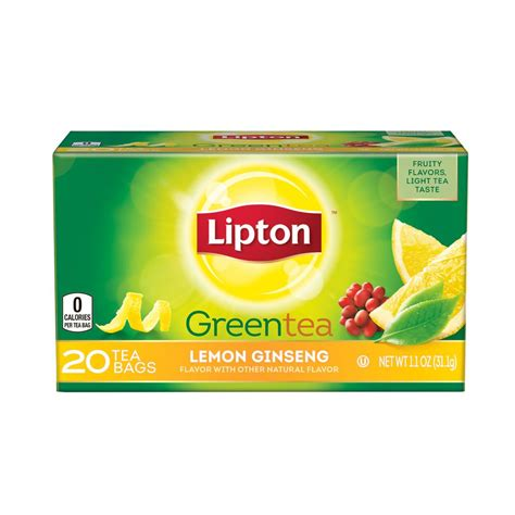 amazon tea amazon com lipton green tea bags lemon ginseng 20 ct green tea flavored grocery