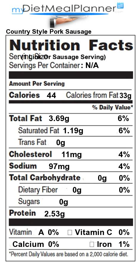 country style nutritional information nutrition facts label 27 mydietmealplanner