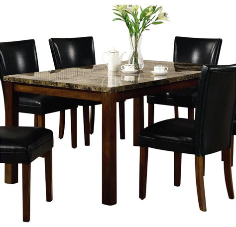 Table Telegraph by Coaster Telegraph Rectangular Dining Table With Faux Marble Top In Medium Brown Transitional