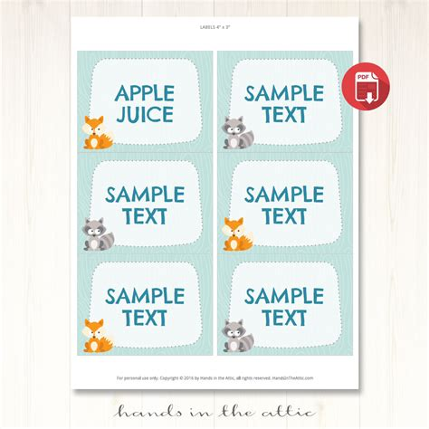 Table Place Cards Template Birthday by Woodland Creatures Birthday Table Place Cards