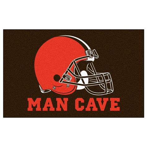 cleveland browns rug fanmats nfl cleveland browns brown cave 5 ft x 8 ft indoor area rug 14290 the home depot