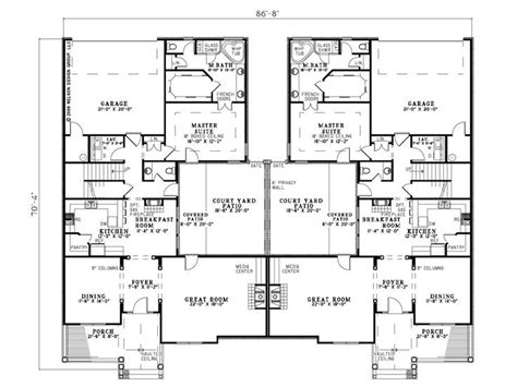 two story duplex plans duplex house plans two story duplex home plan 025m