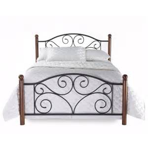 Metal Bed Frame Headboard New King Size Metal Wood Mattress Bed Frame Headboard Footboard Brown Ebay