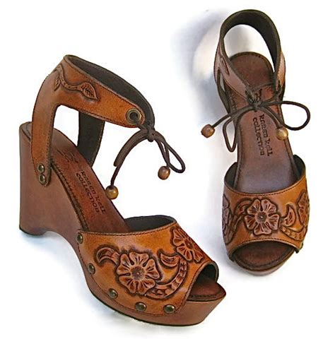 Handmade Wedges - clog shoe tooled flower bohemian wedge handmade by
