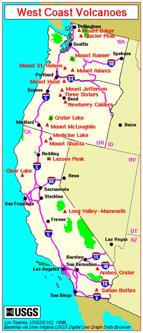 map of oregon and california coast major west coast volcanoes washington oregon and