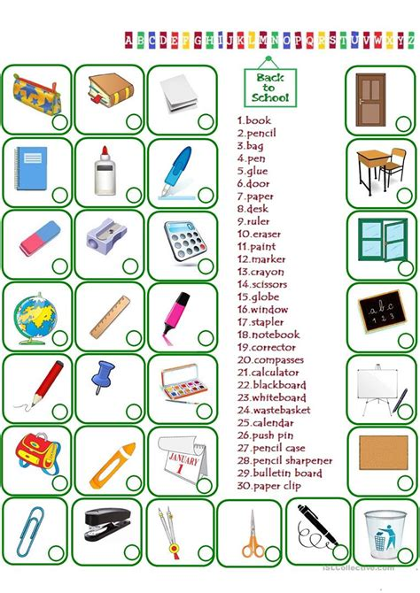 Le Numbers 1to 20 K2 classroom objects worksheet free esl printable