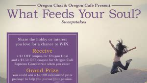 Oregon Sweepstakes - oregon chai what feeds your soul sweepstakes win 2 000