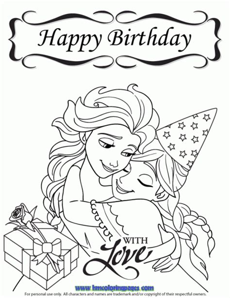 frozen coloring pages printables pinterest frozen happy birthday with love coloring page disney