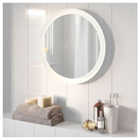 ikea bathroom mirrors with lights storjorm mirror with integrated lighting white 47 cm ikea
