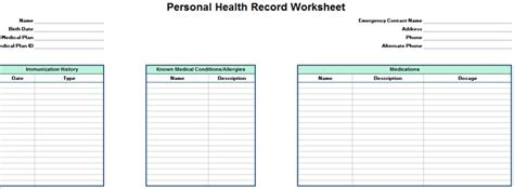 free personal health record template personal family health record worksheet excel