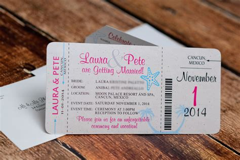 Wedding Invitation Boarding Pass by Neon Boarding Pass Wedding Invitations To Moon Palace