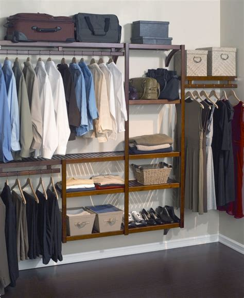 Wood Clothes Closet by Keep Your Clothes Safely With Closet Shelving Lowes Design
