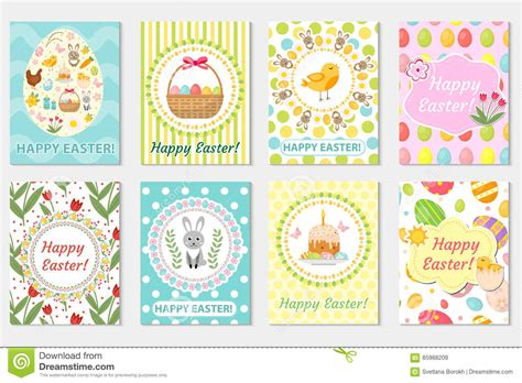 design poster cute happy easter greeting card collection flyer poster