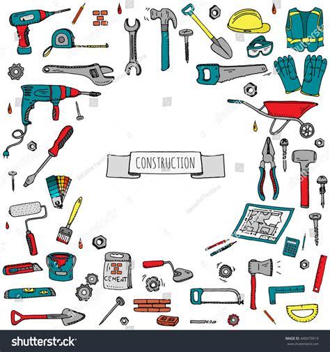 doodle tools doodle construction tools set stock vector