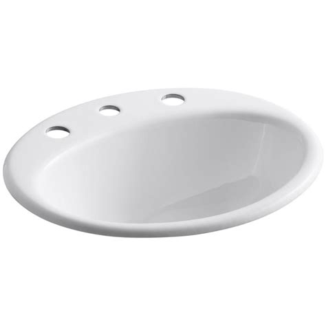 Kohler Kitchen Sink Drain Kohler Farmington Topmount Bathroom Sink In White With Overflow Drain K 2905 8 0 The Home Depot
