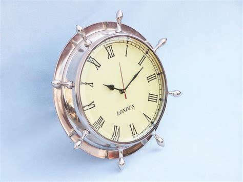 chrome theme clock buy chrome ship wheel clock 15 inch nautical theme