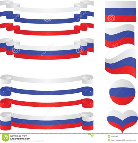set of russian ribbons in flag colors stock vector illustration 26500546